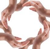 Cirkel die van mensenhanden wordt gemaakt Stock Foto's