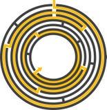 Cirkel editable labyrint - Stock Afbeelding