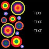 Cirkel eller rund form med textutrymme- och svartbakgrund Arkivfoton