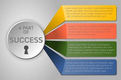 Cirkel en kleurrijke strook infographic met perspectief en schaduw Stock Foto