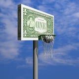 cirkel för raster för dollar för bollbasketbräde Arkivbilder
