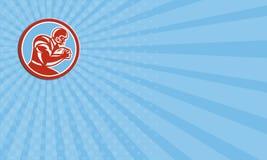 Cirkel för spring för fotbollsspelare för affärskort Retro amerikansk Royaltyfria Bilder