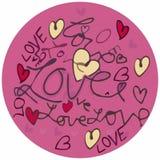 Cirkel för valentinförälskelsetext Royaltyfri Foto