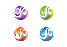 Cirkel folk, vatten, vind, flamma, blad, logo, uppsättning av för beståndsdelsymbol för fyra natur designen för vektor för symbol stock illustrationer