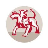 Cirkel för Cerberus Retro Mång--hövdad hundHellhound Royaltyfri Bild