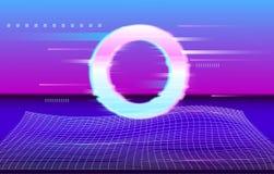cirkel Futuristische Abstracte meetkunde cyberpunk Synthwave met het net van de Neonlaser stock illustratie