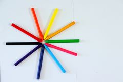 Cirkel Gekleurd Patroon die Kleurpotloden gebruiken stock fotografie