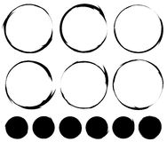Cirkel geschilderde cirkels Grungy, geweven cirkelreeks vector illustratie