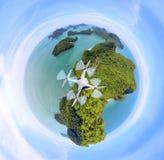 Cirkel Groene planeet, Panoramamening van ANG-leren riemeiland, Archipel in Thailand stock afbeeldingen