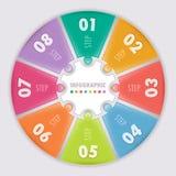 Cirkel infographic. Acht stappen. Stock Fotografie