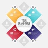 Cirkel Infographic för fyra Shape Arkivfoto