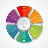 Cirkel infographic malplaatje Proceswiel Vectorcirkeldiagram Bedrijfsconcept met 6 opties Royalty-vrije Stock Afbeelding