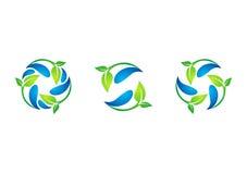 Cirkel, installatie, waterdrop, embleem, blad, de lente, recycling, aard, reeks van ronde het ontwerpvector van het symboolpictog Royalty-vrije Stock Afbeeldingen