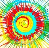 Cirkel - kulöra färgstänk Sommarsolstrålar stock illustrationer
