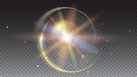 Cirkel lichte stralen en de achtergrond van de lensgloed, op trasparent Gloed lichteffect Steruitbarsting met Fonkelingen Stock Foto