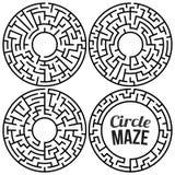 Cirkel Maze Vector Set stock illustratie