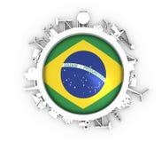 Cirkel med branschsläktingkonturer Royaltyfri Bild