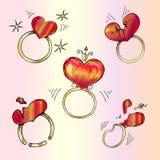 Cirkel med hjärta och cirkel med en bruten hjärta royaltyfri illustrationer