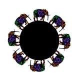 Cirkel med stiliserade mönstrade elefanter i indisk stil Illustration för t-skjorta design, hälsningkort, inbjudan arkivfoto