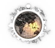 Cirkel met de industrie relatieve silhouetten Stock Foto