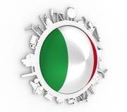 Cirkel met de industrie relatieve silhouetten Royalty-vrije Stock Afbeelding
