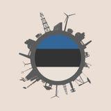 Cirkel met de industrie relatieve silhouetten De Vlag van Estland Royalty-vrije Stock Foto's