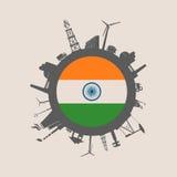 Cirkel met de industrie relatieve silhouetten De Vlag van India royalty-vrije illustratie
