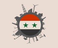 Cirkel met de industrie relatieve silhouetten De vlag van Syrië Stock Afbeeldingen