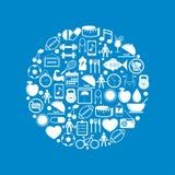 Cirkel met Geschiktheid en Gezondheidspictogrammen Stock Afbeeldingen