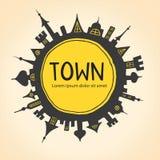 Cirkel met stad Stock Afbeeldingen