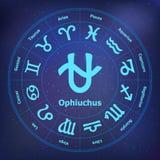 Cirkel met tekens van dierenriem en ophiuchus Stock Afbeeldingen