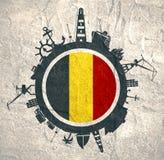 Cirkel met van de ladingshaven en reis relatieve silhouetten De Vlag van België royalty-vrije stock foto