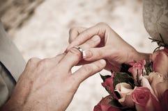 cirkel på fingret för brudgum` s Royaltyfri Foto