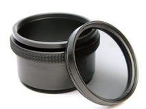Cirkel polarisatorfilter en adapter Stock Foto