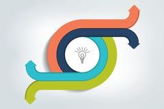 Cirkel, ronde in 4 pijlen wordt verdeeld die Malplaatje, regeling, diagram, grafiek, grafiek, presentatie Stock Afbeeldingen