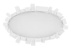 Cirkel som annonserar det vita brädet med kuber Royaltyfria Bilder