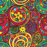 Cirkel som drar den sömlösa modellen för färgrika blommor Arkivbild