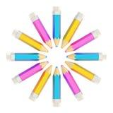 Cirkel som göras av isolerade blyertspennor Royaltyfri Fotografi