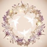 Cirkel van bloemen en vogels Stock Illustratie