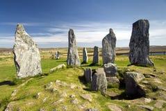 Cirkel van de Callanish de bevindende steen, Eiland van Lewis, Schotland, het UK. Royalty-vrije Stock Fotografie