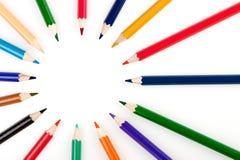 Cirkel van kleurenpotloden Royalty-vrije Stock Afbeeldingen