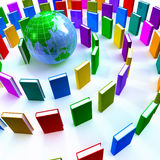 Cirkel van kleurrijke boeken rond een bol Stock Foto