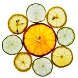 Cirkel van sinaasappel, kalk en citroenplakken Royalty-vrije Stock Foto's