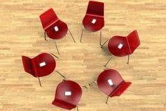 Cirkel van stoelen met smartphones stock illustratie