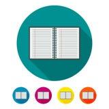 Cirkel, vlak notitieboekjepictogram Vijf kleurenvariaties vector illustratie
