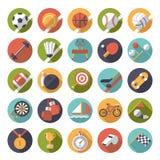 Cirkel vlakke het ontwerp vectorreeks van sportenpictogrammen Stock Foto's