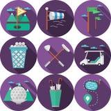 Cirkel vlakke pictogrammen voor golf Royalty-vrije Stock Fotografie