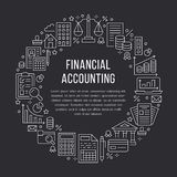Cirkelaffisch för finansiell redovisning med den plana linjen symboler Bokföringbroschyrbegrepp, skattoptimization, lån, lönelist stock illustrationer