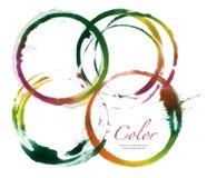 Cirkelakryl och vattenfärg målade designbeståndsdelar Arkivbilder
