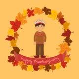 CirkelAutumn Leaf Thanksgiving Indian Boy vektor Arkivfoto